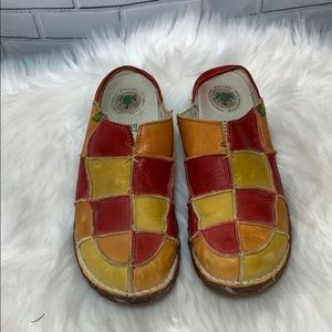 El Naturalista Patchwork Leather Clogs Size 38/7.5